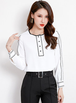 Work O-neck Long Sleeve Chiffon Blouse