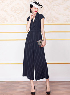 Casual Striped Lapel High Waist Jumpsuit