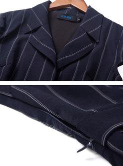 Casual Striped Lapel High Waist Jumpsuit