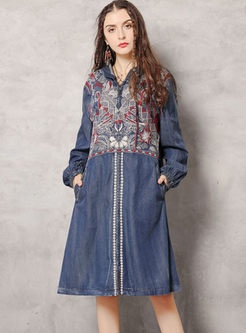 Denim Embroidered Hooded Shift Dress