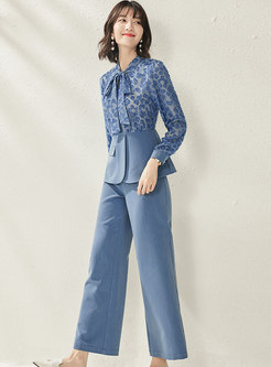 Trendy Splicing Tied Bowknot Two Piece Pants
