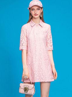 Turn Down Collar Lace Mini Dress