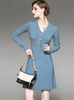 V-neck Solid Color Slim A Line Dress