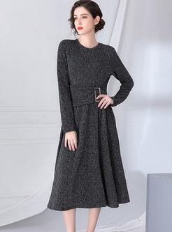 O-neck Long Sleeve Waist A Line Dress