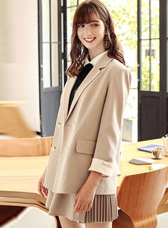 Work Notched Double-breasted Slim Blazer