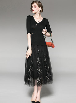 Black V-neck Knitted Top & Mesh Sequined Skirt