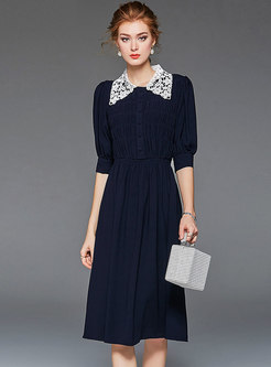Casual Lace Lapel Single-breasted A Line Dress