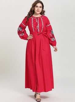 Plus Size Embroidered Waist A Line Dress