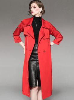 Turn Down Collar Waist Long Trench Coat