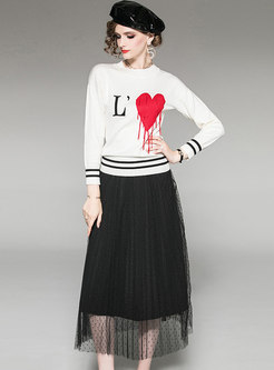 Heart Pattern Tassel Knitted Top & Mesh Skirt