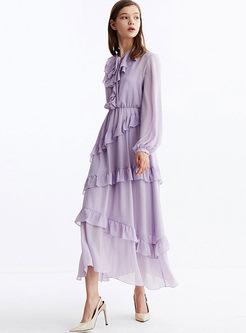Sweet Lantern Sleeve Chiffon Maxi Dress