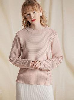Brief Pink Stripe Pattern Cute Sweater
