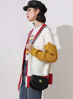 Color-blocked V-neck Long Sleeve Cardigan