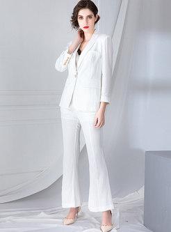 Pure Color Work Notched Slim Suit Set