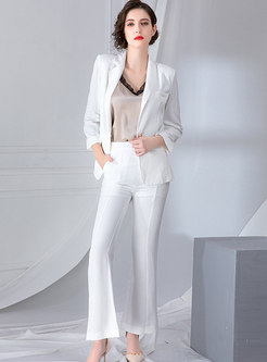 Pure Color Work Notched Slim Suit Set