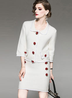 Lapel 3/4 Sleeve Knitted Two Piece Outfits