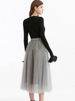 Elastic Waist Mesh A Line Skirt