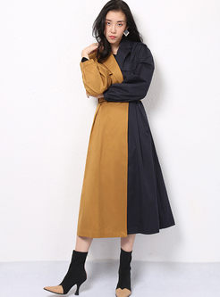 Color-blocked Lapel Long Sleeve Trench Coat