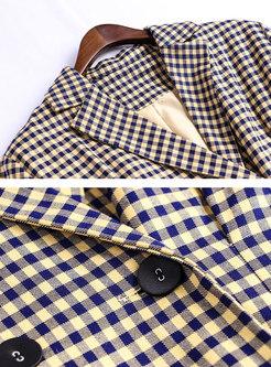 Stylish Lapel Plaid Long Sleeve Trench Coat