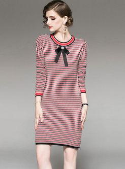 O-neck Striped Slim Knitted Dress