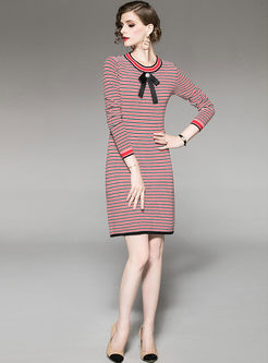 O-neck Striped Slim Knitted Dress