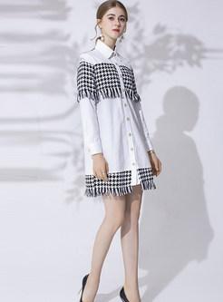 White Lapel Patchwork Plaid Tassel Dress