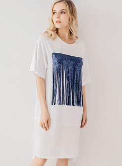 Brief Sequined Tassel Loose T-shirt Dress