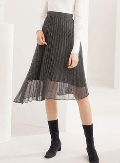 High Waisted Mesh Irregular Skirt