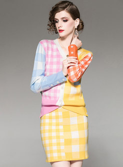 Multi-color Rainbow Plaid Knitted Two Piece Outfits