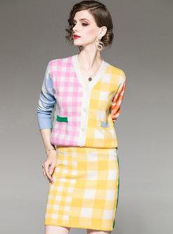 V-neck Color-blocked Plaid Sweater Suit Dress