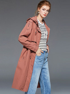 Trendy Hooded Waist Trench Coat