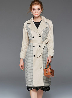 Casual Notched Loose Long Trench Coat
