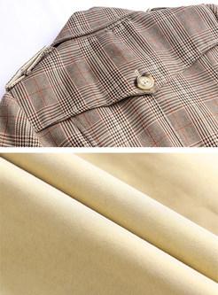 Fashion Lapel Patchwork Plaid Long Trench Coat