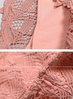 Red O-neck Long Sleeve Openwork Lace Dress
