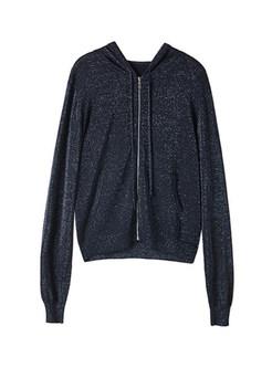 Black Cotton Hooded Knit Zipper Sweatshirt