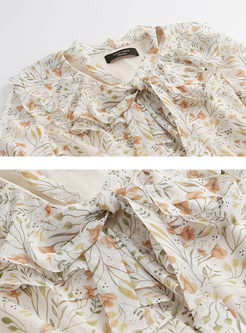 V-neck Floral Long Sleeve Dress