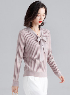Brief Wild Tie-collar Pullover Sweater