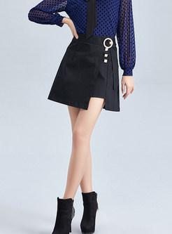 Work Solid Color Irregular Cotton A Line Skirt