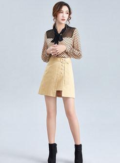 Apricot Irregular Cotton A Line Skirt