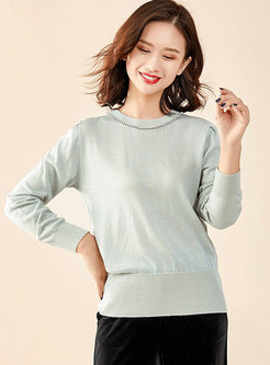 Brief O-neck Diamond All-matched Sweater