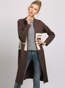 Casual V-neck Geometric Pattern Sweater Coat