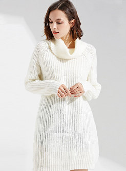 High Neck Pure Color Straight Knitted Dress