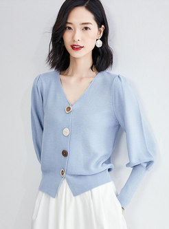 V-neck Loose Puff Sleeve Knitted Cardigan