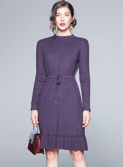 O-neck Elastic Tied Long Sleeve Knitted Dress