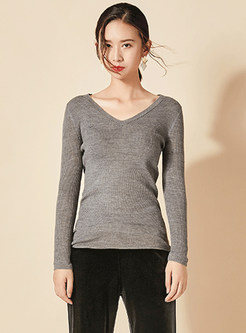 Brief V-neck Solid Color Slim Sweater