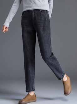 Fashion Black Denim Casual Harem Pants