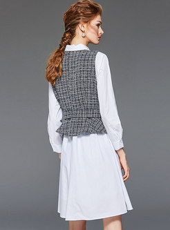 Casual Plaid Single-breasted Two Piece Outfits
