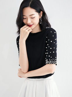 Black Half Sleeve Beading Sweater