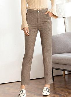 High Waisted Plaid Slim Long Pants