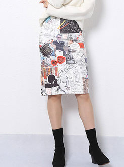 Fashion Irregular Print Bodycon Skirt